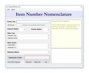 Item Number Nomeclature