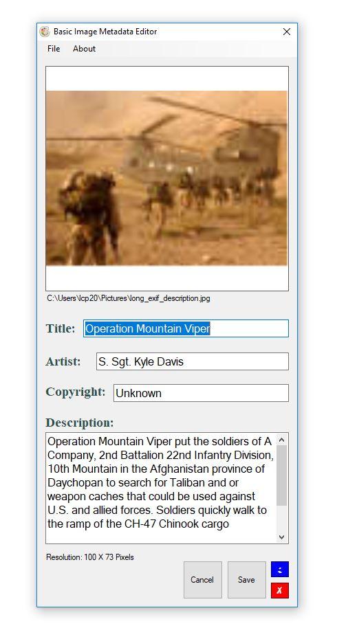Basic Image Metadata Editor (BIME)